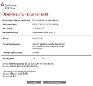 USmobil.de und TelematikTeam: € 400,00 an die McDonald´s Kinderhilfe gespendet!